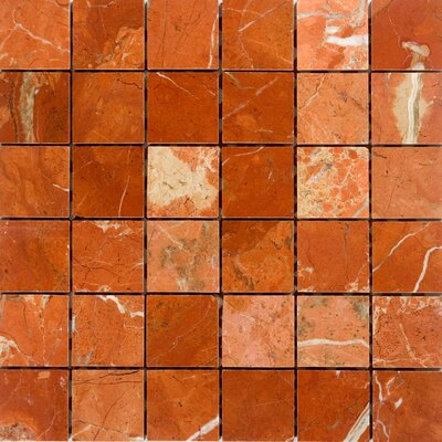2 x 2 Marble Mosaic Tile in Polished Red