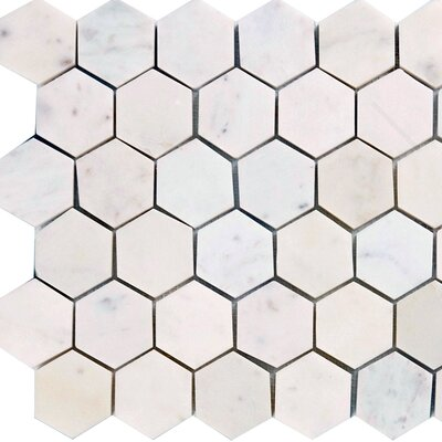Hexagon 2 x 2 Marble Mosaic Tile in Italian Venatino