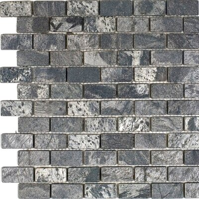 1 x 2 Slate Mosaic Tile in Ostrich Grey