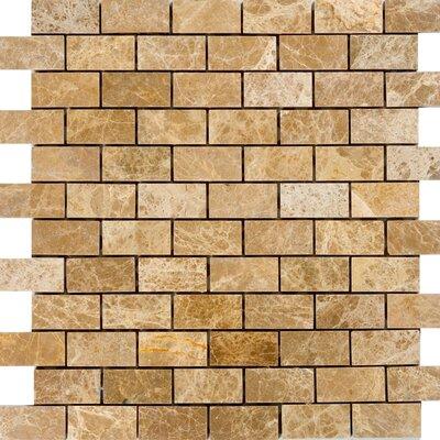 2 x 1 Marble Mosaic Tile in Emperador Light