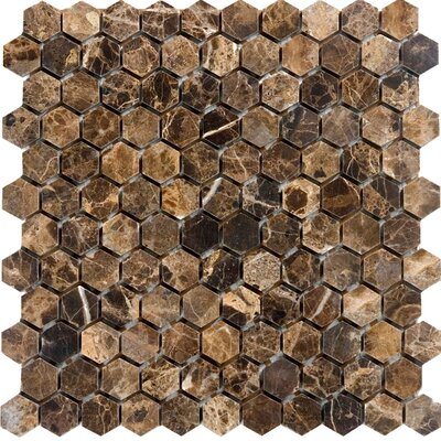 Hexagon Marble Mosaic Tile in Emperador Dark