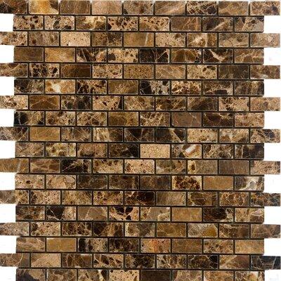 0.63 x 1.25 Marble Mosaic Tile in Emperador Dark