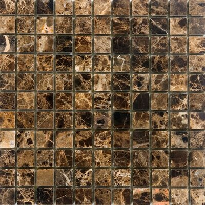 1 x 1 Marble Mosaic Tile in Polished Brown