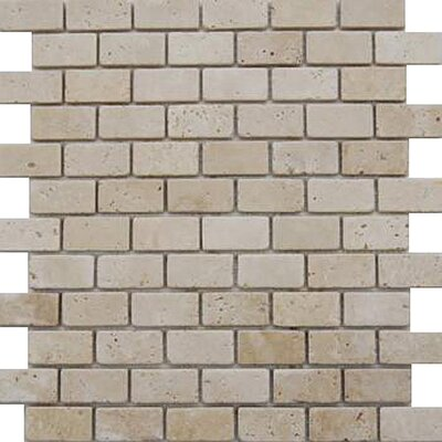 1 x 2 Travertine Mosaic Tile in Ivory