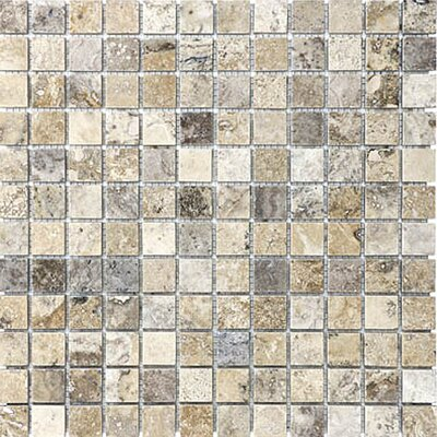 1 x 1 Travertine Mosaic Tile in Silver