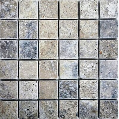 2 x 2 Travertine Mosaic Tile in Silver