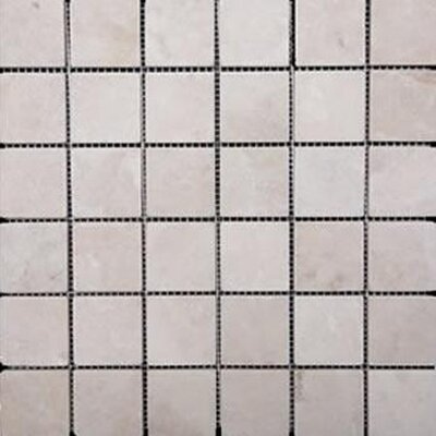 2 x 2 Travertine Mosaic Tile in Ivory