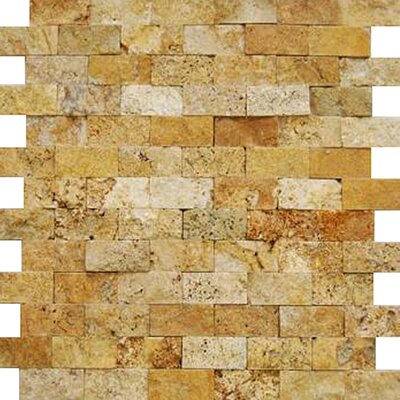 1 x 2 Travertine Splitface Tile in Golden Sienna