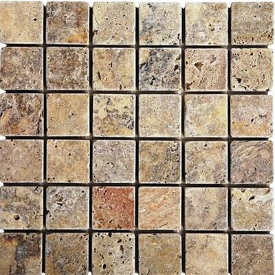 Scabos 1 x 1 Travertine Mosaic Tile in Multi