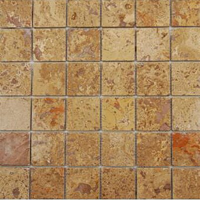 1 x 1 Travertine Mosaic Tile in Unpolished Brown