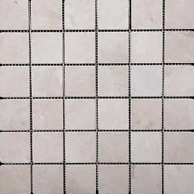 1 x 1 Travertine Mosaic Tile in Unpolished Ivory