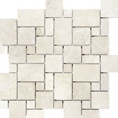 Mini Versailles Random Sized Travertine Mosaic Tile in Beige