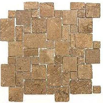 Noce Mini Versailles Random Sized Travertine Mosaic Tile in Brown