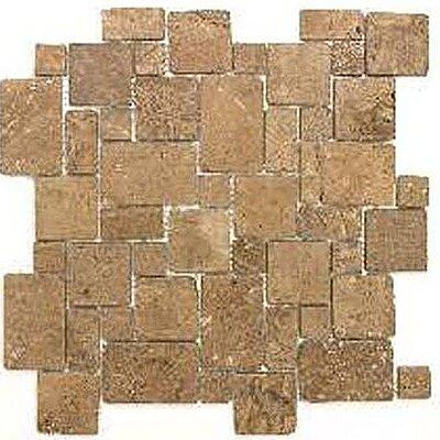 Noce Mini Versailles Random Sized Travertine Mosaic Tile in Brown