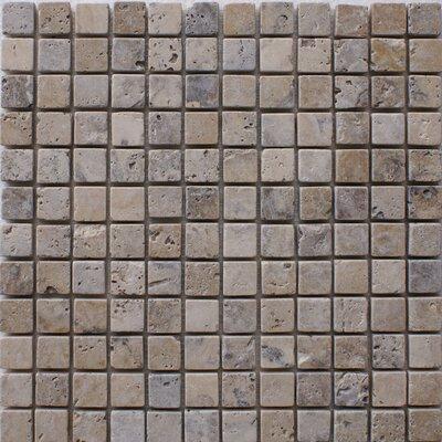 Philadelphia 1 x 1 Travertine Mosaic Tile in Grey
