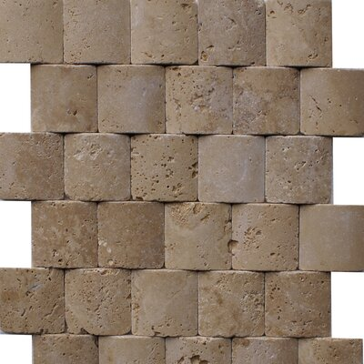 Noce Pillowed 2 x 2 Travertine Mosaic Tile in Brown