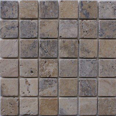 Philadelphia 2 x 2 Travertine Mosaic Tile in Grey
