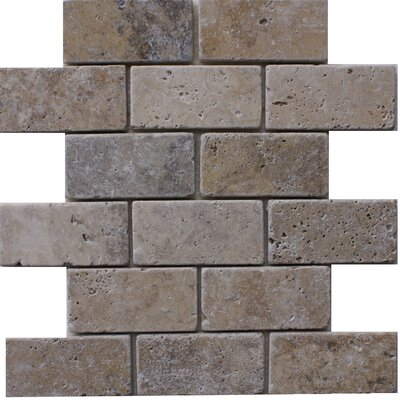Philadelphia 2 x 4 Travertine Subway Tile in Grey