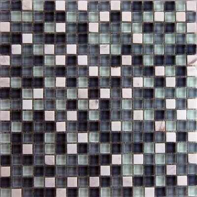 Cloudz 0.63 x 0.63 Stone Composite and Glass Mosaic Tile in  Black and White