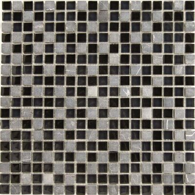 Dancez 0.63 x 0.63 Stone Composite and Glass Mosaic Tile in Black