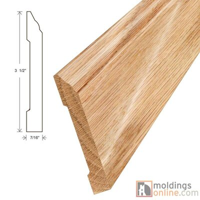 Furniture-0.44 x 3.5 x 96 Red Oak Wall Base