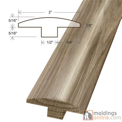 0.63 x 2 x 78 White Oak T-Mold