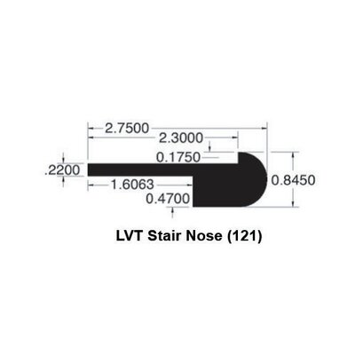 Congoleum 0.85 x 2.75 x 78 Walnut Rustic LVT Stair Nose