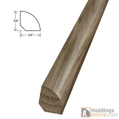 0.75 x 0.75 x 96 White Oak Quarter Round