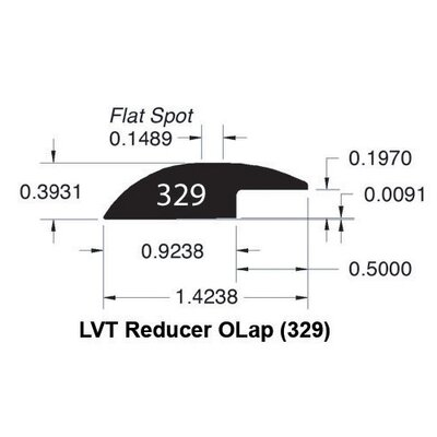 0.39 x 1.43 x 78 Red Oak LVT Overlap Reducer