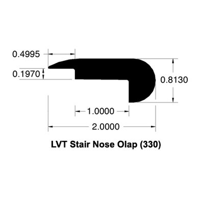 0.81 x 2 x 78 Cherry Stair Nose Overlap LVT