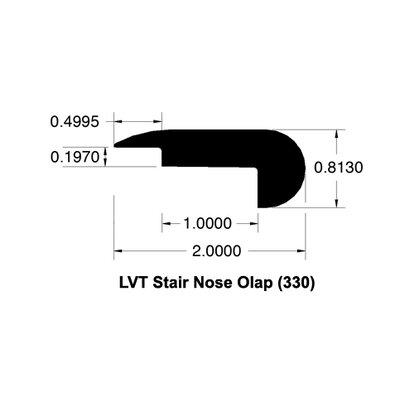 0.81 x 2 x 78 White Oak Stair Nose Overlap LVT