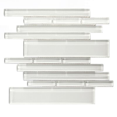Piano Random Sized Glass Mosaic Tile in Concerto White