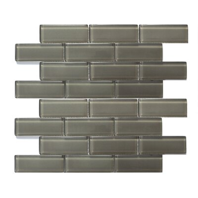 Mardi Gras 1.5 x 4 Glass Mosaic Tile in Gray