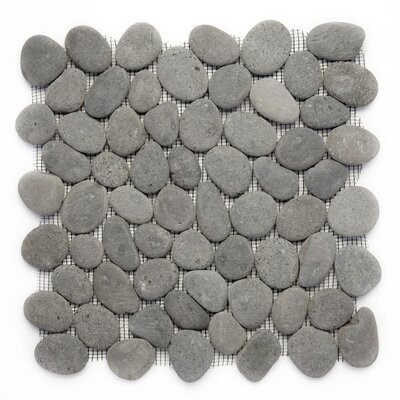 Decorative Random Sized Natural Stone Pebble Tile in River Gray