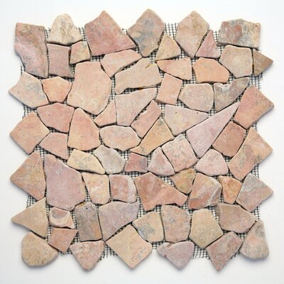 Decorative Pebbles Random Sized Natural Stone Pebble Tile in Sumatra Red