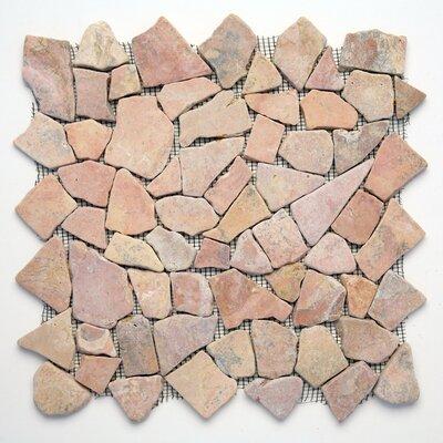 Decorative Pebbles Random Sized Natural Stone Pebble Tile in Sumatra Red