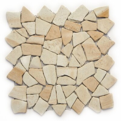 Decorative Pebbles Random Sized Natural Stone Pebble Tile in Bamboo