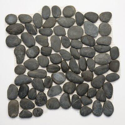 Decorative Pebbles Random Sized Natural Stone Pebble Tile in Honed Black Sea