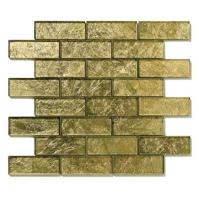 Folia Glass Subway Tile in Golden Willow