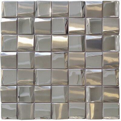 Fa�ade 1.88 x 1.88 Metal Mosaic Tile in Mirror
