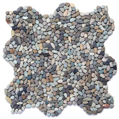 Decorative Random Sized Natural Stone Pebble Tile in Cayman Blue