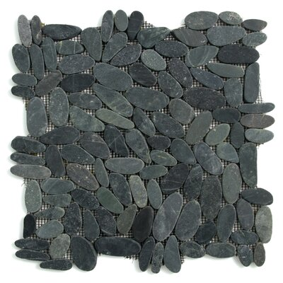 Decorative Pebbles Random Sized Natural Stone Pebble Tile in Komodo Black