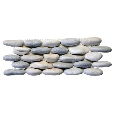 Standing Random Sized Natural Stone Pebble Tile in Terrene Blend