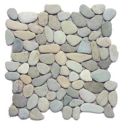 Decorative Random Sized Natural Stone Pebble Tile in Turquoise