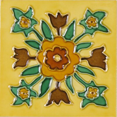 Hand-Painted 6 x 6 Ceramic Field Tile in Botanika