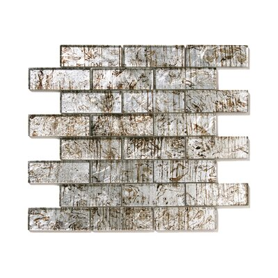 Folia Glass Subway Tile in Silver Maple
