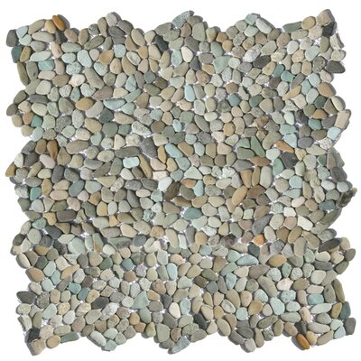 Decorative Random Sized Natural Stone Pebble Tile in Cayman Blue