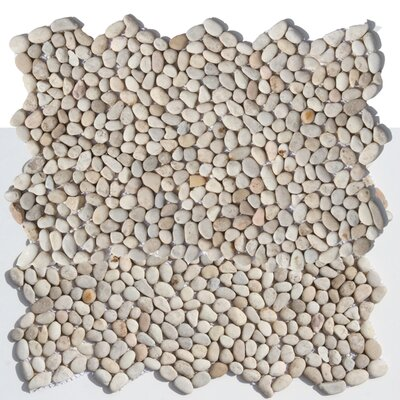 Decorative Random Sized Natural Stone Pebble Tile in Playa Beige