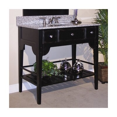 Dover 36 Single Bathroom Vanity Set Base Finish: Distressed Black, Top Finish: Black Granite