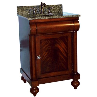 John Adams 24 Single Bathroom Vanity Set Top Finish: Black Granite